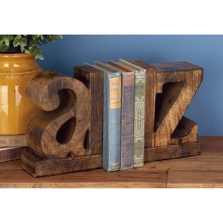 Copper Grove Chatfield A to Z' Rustic Wood Bookends