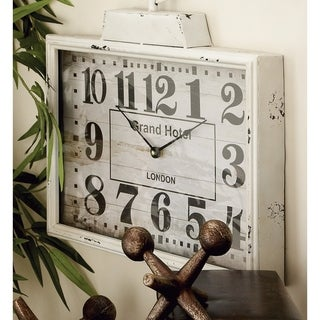 The Gray Barn Crow Haven White Antique-finish Rectangular Metal Wall Clock