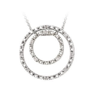 DB Designs Sterling Silver 1/8ct Diamond Two Circle Pendant