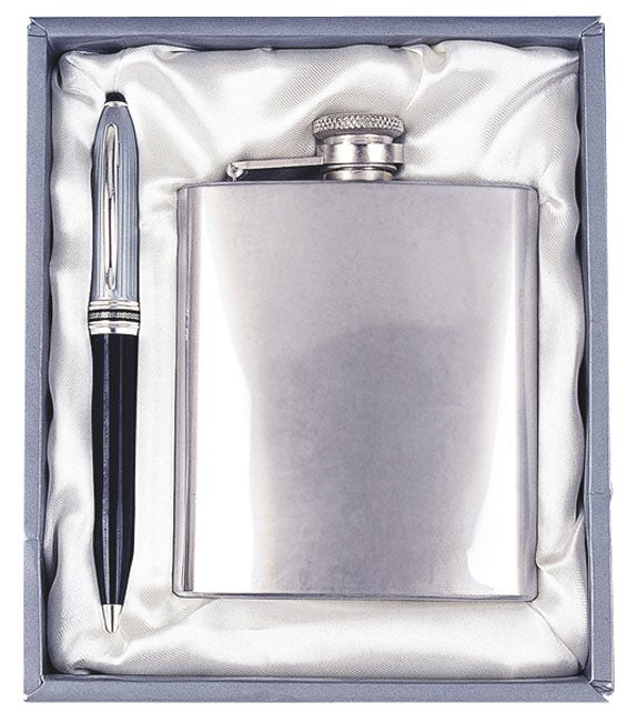 Executive Gift Set with Ballpoint Pen and Flask