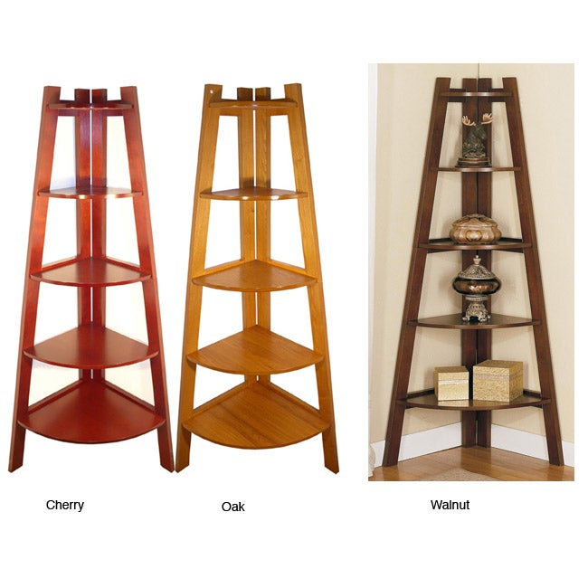 Wooden 5-tier Corner Bookshelf - 10390907 - Overstock.com Shopping ...