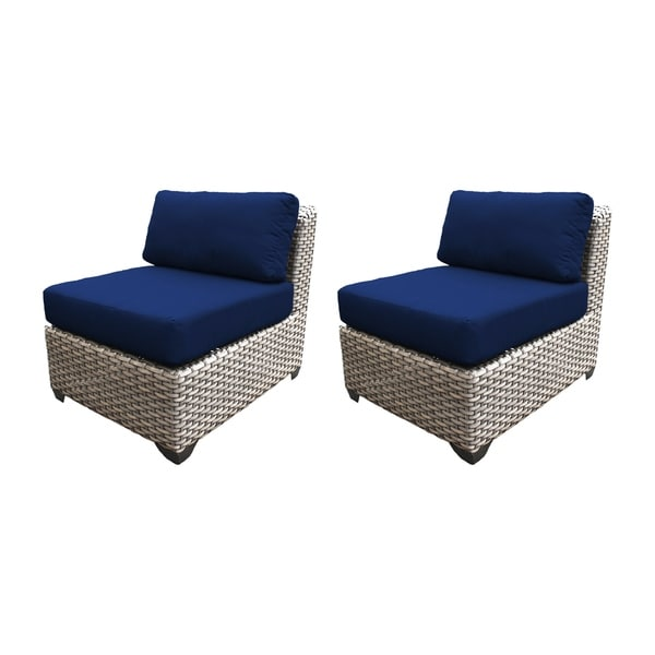 Marina OH0416 Outdoor Patio Armless Wicker Sofa Segment (Set of 2) 35120830