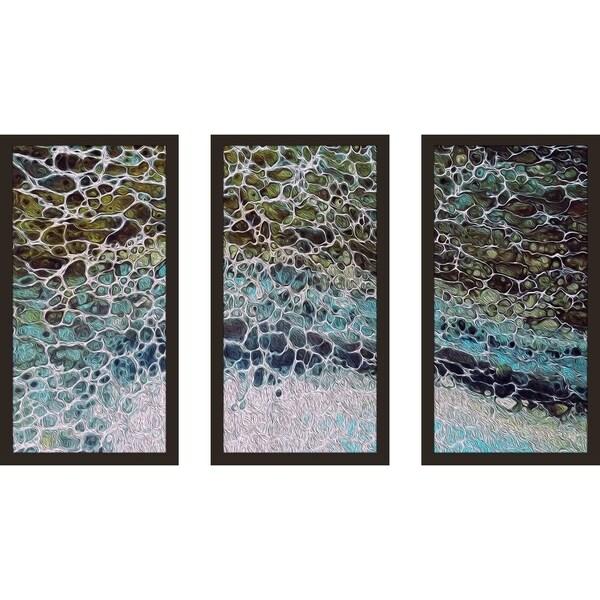 """Coastal Tides"" Framed Acrylic Wall Art Set of 3 35140600"