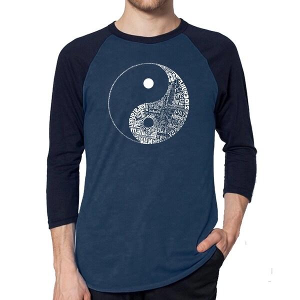 Los Angeles Pop Art Men's Raglan Baseball Word Art T-shirt - YIN YANG 35144035