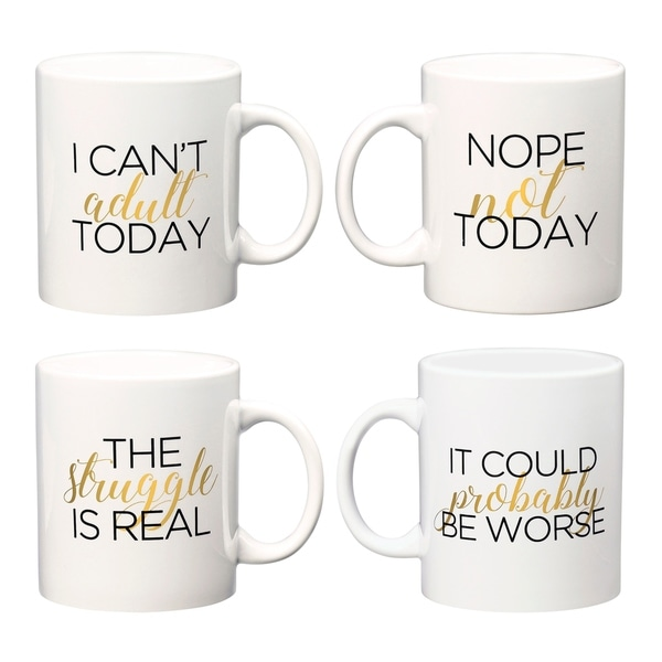 Adulting Coffee Mugs, Assorted Set of 4