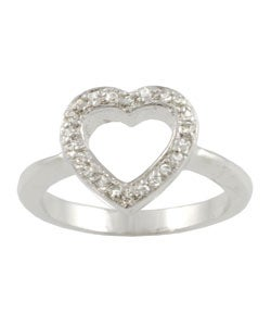 Tressa Sterling Silver Pave CZ Heart Ring