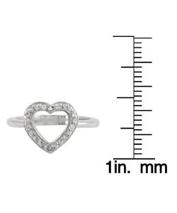 Journee Collection Sterling Silver Pave CZ Heart Ring
