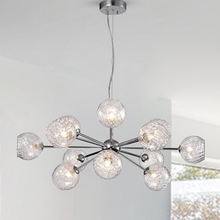 Ginherd Chrome 12-Light Satellite Chandelier with Clear Twisted Rib Glass Shades