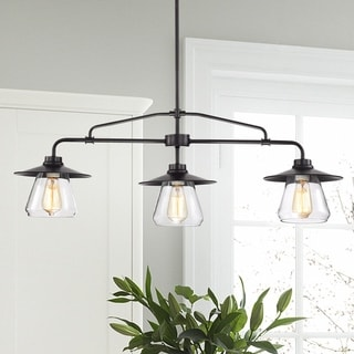 Temet Matte Black Linear 3-Lamp Chandelier with Hooded Glass Shades