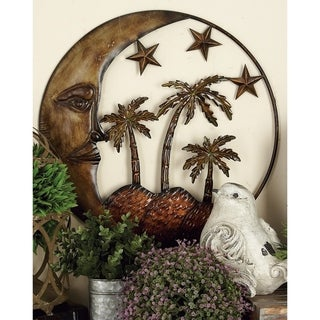 The Curated Nomad Biltmore Island Sun Stars and Palms Metal Wall Sculpture