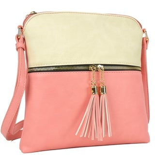 Dasein Fashion All-In-One Front Decorative Tassel Zipper Pull Crossbody Handbag
