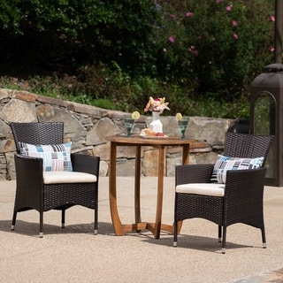 Ellie Outdoor 3 Piece Wicker Bistro Set by Christopher Knight Home