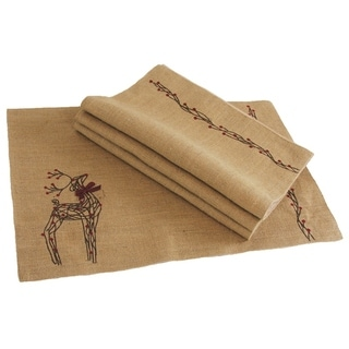 Rustic Reindeer Jute Christmas Placemats, 13 by 20-Inch, Set of 4