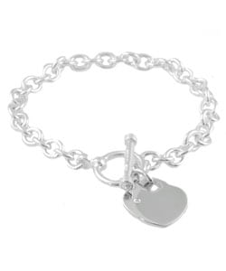 Silver Heart Toggle Diamond Accent Bracelet