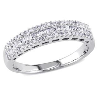 Miadora 14k White Gold 1/3ct TDW Diamond Anniversary Ring (H-I, I2)
