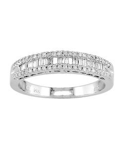 Miadora 14k White Gold 1/3ct TDW Diamond Anniversary Ring (H-I, I2)