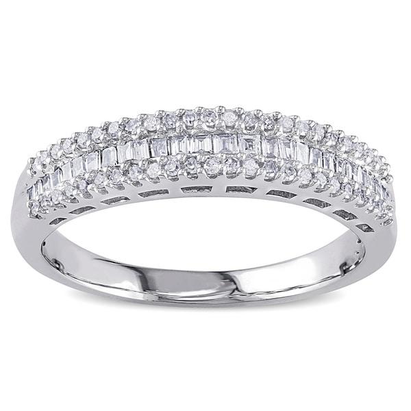 Miadora 14k White Gold 1/3ct TDW Baguette Diamond Anniversary Ring (H-I, I2)