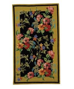 Hand-hooked Midnight Garden Black Wool Runner (2'6 x 4')
