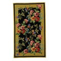 Hand-hooked Midnight Garden Black Wool Runner (2'6 x 4')