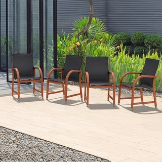 Tottenville Eucalyptus and Sling Brown/Black Arm Chairs (Set of 4) by Havenside Home