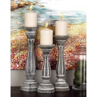 The Curated Nomad Jiminez White Wood 15-inches, 13-inches, and 11-inches High Candleholders (Pack of 3)