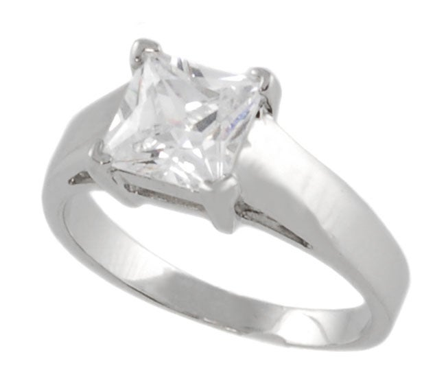 Journee Collection Sterling Silver Bridal Style Square CZ Ring