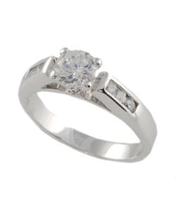 Tressa Collection Sterling Silver Round-cut CZ Bridal and Engagement Ring