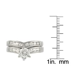 Tressa Sterling Silver Bridal Style V-Shape CZ Ring Set
