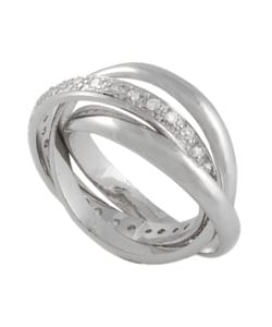 Tressa Sterling Silver Triple Rolo CZ Eternity Ring