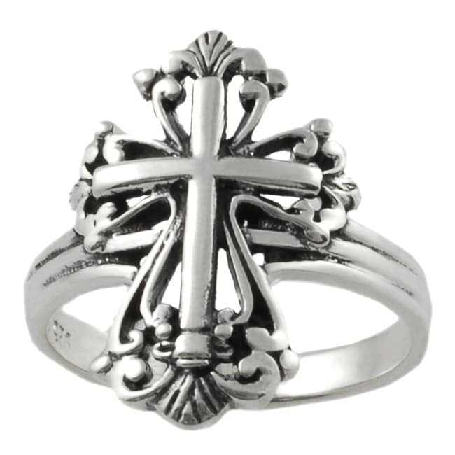 Journee Collection Sterling Silver Vintage-style Cross Ring