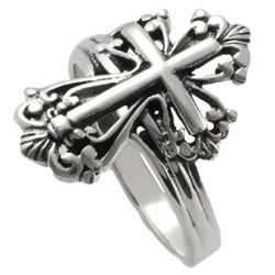 Tressa Sterling Silver Vintage-style Cross Ring