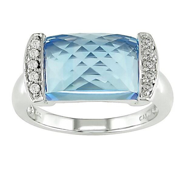 14k White Gold Blue Topaz/ 1/10ct TDW Diamond Ring