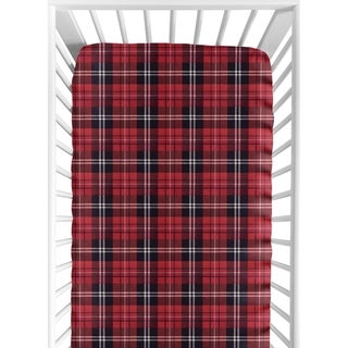 Sweet Jojo Designs Red and Black Woodland Plaid Flannel Rustic Patch Collection Fitted Crib Sheet