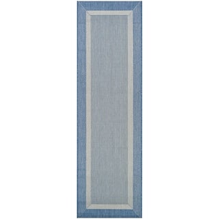 "Pergola Channel Champagne-Blue Indoor/Outdoor Runner Rug - 2'3"" x 7'10"" Runner"