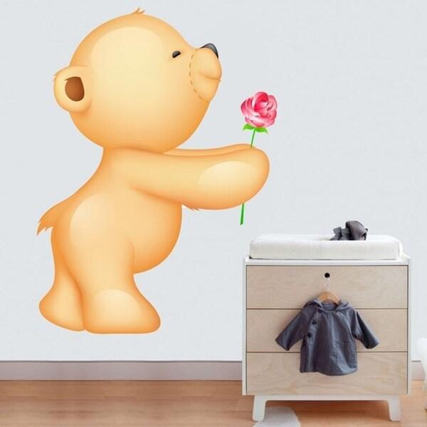 "Teddy Bear Flower Love Full Color Wall Decal Sticker K-1073 FRST Size 52""x65"" 35379178"