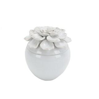 "Sagebrook Home 12737-04 Ceramic Covered 5.5"" Jar W/ Petal Trim, White Ceramic, 5.5 X 5.5 X 6.5 Inches"