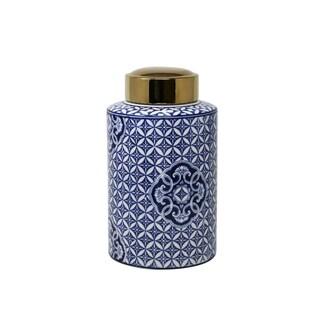 Sagebrook Home 13460-02 Ceramic Covered Jar, Blue/White W/Gld Top Ceramic, 5.5 X 5.5 X 12 Inches