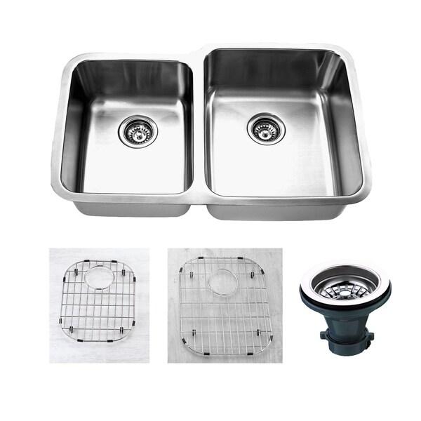 """32"""" x 20.5"""" Double Basin Undermount Kitchen Sink with Strainer & Grid 35386382"""