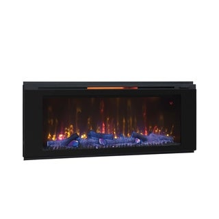 "Helen 48"" Wall Mounted Electric Fireplace, Black"
