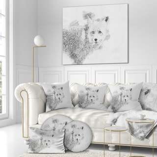 Designart 'Black and White Fox Sketch' Animals Painting Print on Wrapped Canvas