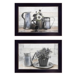 """Floral with Tin Ware"" 2-Pc Vignette by Robin-Lee Vieira, Black Frame"