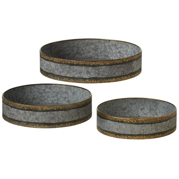 Round Galvanized Ribbed with Gold Trim Tray set/3. 35463335