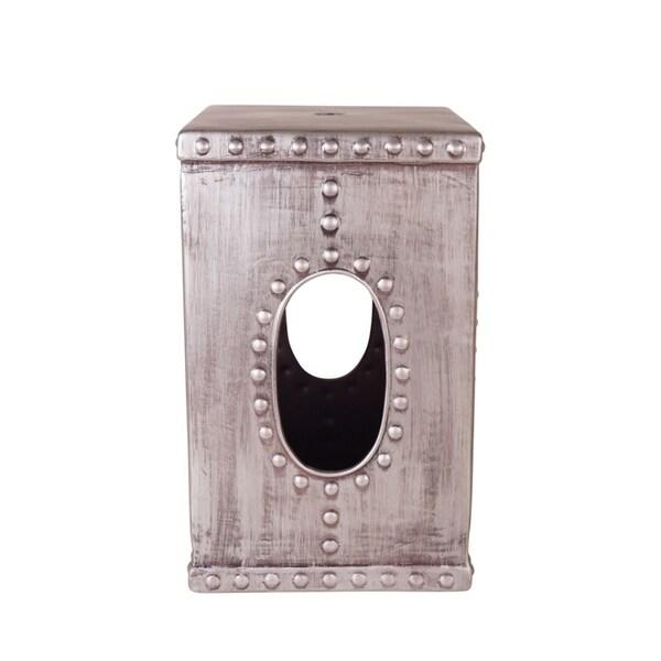 Sagebrook Home 13447 Ceramic Garden Stool, Gun Metal Ceramic, 11.5 x 11.5 x 18.25 Inches 35468567