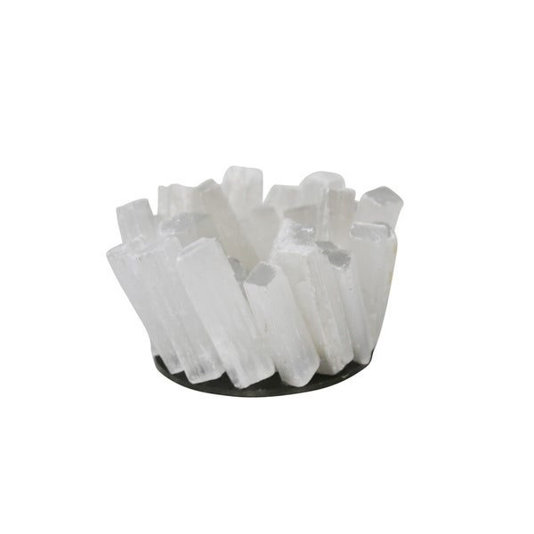 Sagebrook Home 13209-02 Quartz Votive Candle Holder, White Stone, 4.75 x 4.75 x 4.75 Inches 35476139