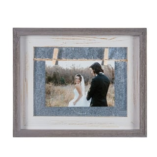"Danya B. Grey and White 4"" x 6"" Horizontal Wood Picture Frame"