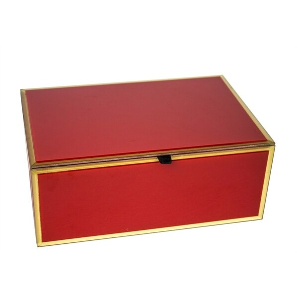 Sagebrook Home 12330-01 Glass & Wood Decorative Box, Red Mdf/Glass, 9.75 x 6.5 x 4 Inches 35523546