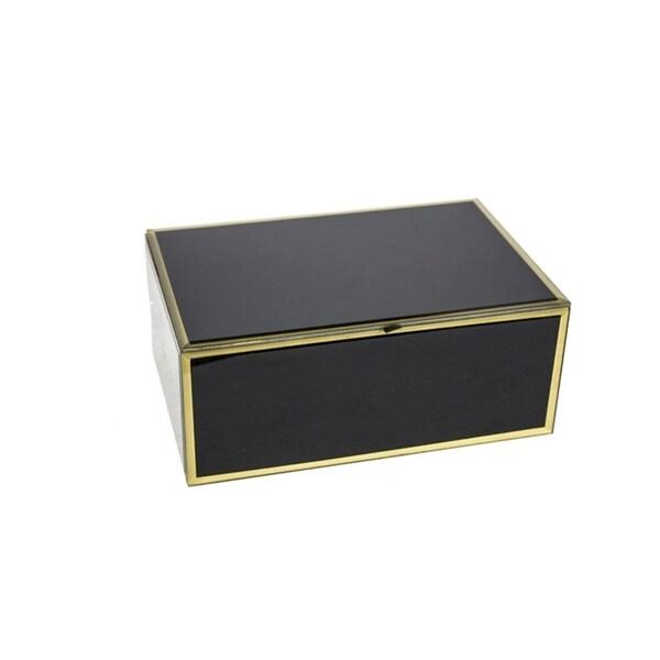 Sagebrook Home 12330-02 Glass & Wood Decorative Box, Black Mdf/Glass, 6.75 x 6.5 x 4 Inches 35523588