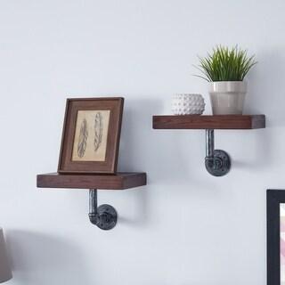 Danya B. 12 x 7 Pipe Industrial Wall Mount Shelves (Set of 2) Umber