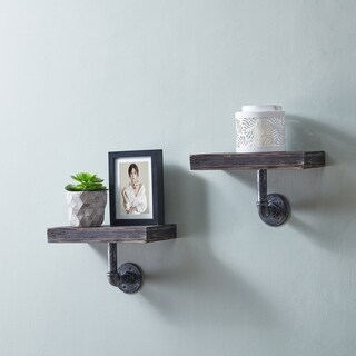 Danya B. 12 x 7 Pipe Industrial Wall Mount Shelves (Set of 2) Ebony