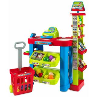 MEDca Creative Time Kids Supermarket Stall Toy Shop Fun Playset with Shopping Cart Super Market Trolley and Play Food